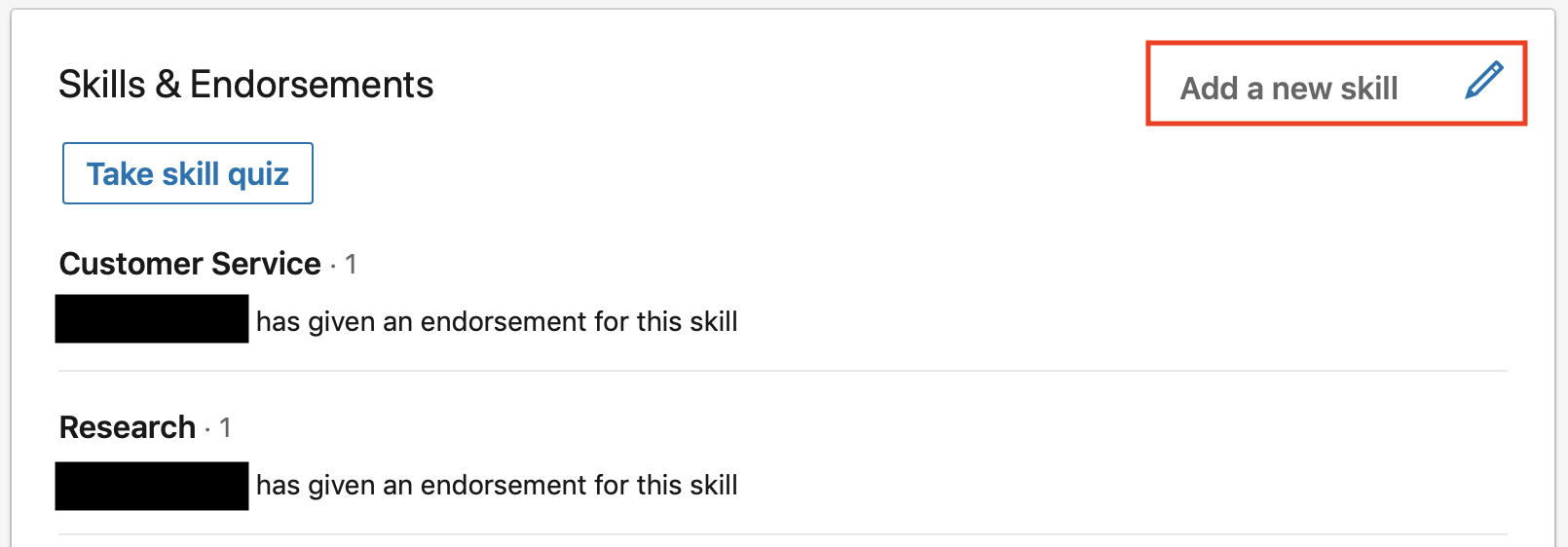 LI Add Skills Button